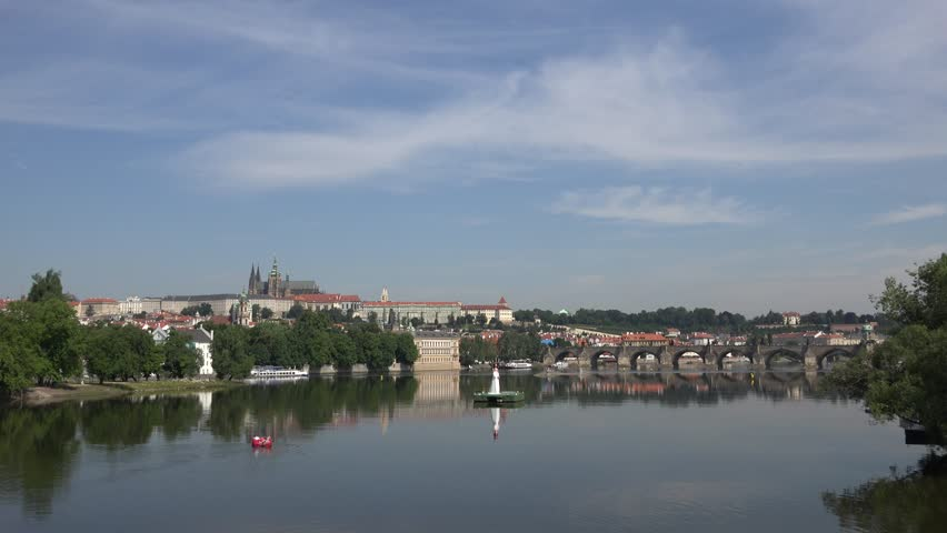 4K Beautiful Prague panorama with famous Castle and Charles Bridge landmark, emblem | Shutterstock HD Video #23688541