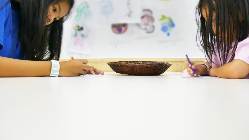 Baby and young sister draw and painting color on table  | Shutterstock HD Video #23793040