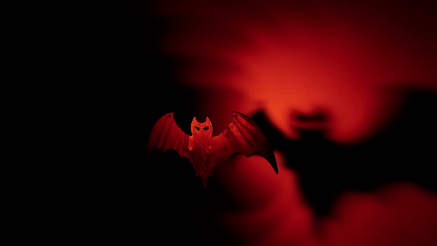 Flying bat with terrible shadow Halloween handmade concept | Shutterstock HD Video #23804587