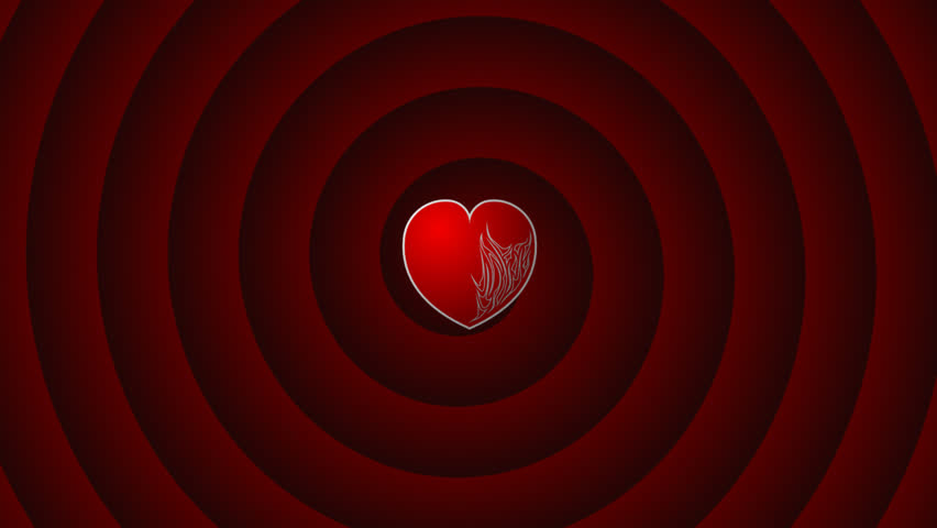 fireheart -animated heart on spiral background. blue -chromakey.(HDTV) - HD stock video clip