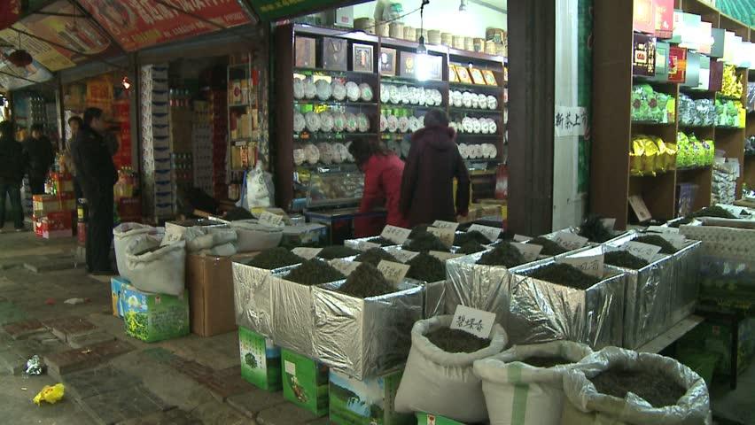 XIAN, CHINA - CIRCA 2010: Local Xian tea shops. - HD stock video clip
