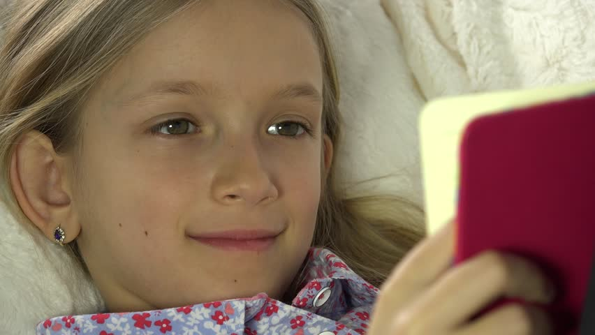 4K Child Face Reading Book on Sofa, Girl, Kid Portrait Studying in Bed, Coach | Shutterstock HD Video #23905387