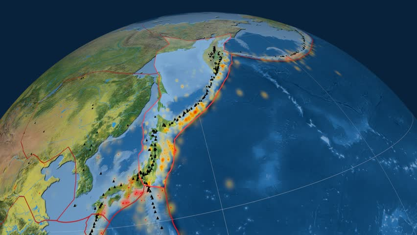 Okhotsk tectonics featured. Topography. Plate extruded and animated against the globe. Tectonic plates borders (newest division), earthquakes by strength & volcanic cones | Shutterstock HD Video #23960404