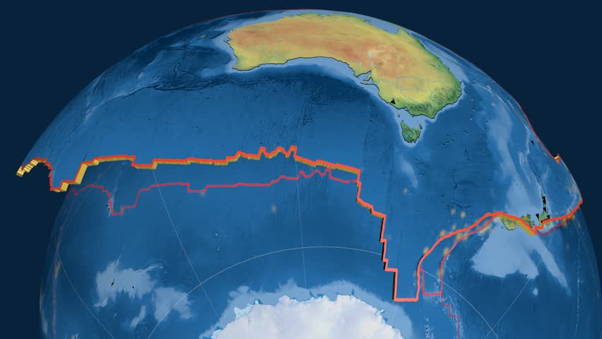Australia tectonics featured. Natural Earth. Plate extruded and animated against the globe. Tectonic plates borders (newest division), earthquakes by strength & volcanic cones | Shutterstock HD Video #23961223