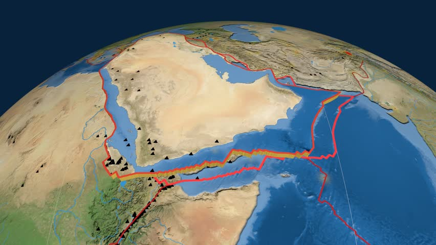 Arabia tectonics featured. Satellite imagery. Plate extruded and animated against the globe. Tectonic plates borders (newest division), earthquakes by strength & volcanic cones | Shutterstock HD Video #23961232