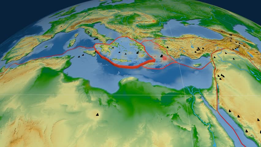 Aegean Sea tectonics featured. Physical. Plate extruded and animated against the globe. Tectonic plates borders (newest division), earthquakes by strength & volcanic cones | Shutterstock HD Video #23961385