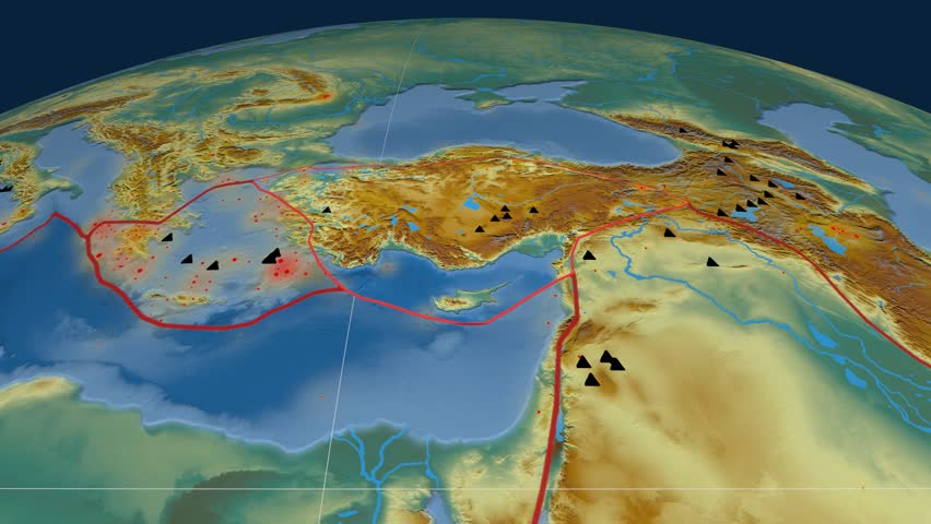 Anatolia tectonics featured. Relief. Plate extruded and animated against the globe. Tectonic plates borders (newest division), earthquakes by strength & volcanic cones | Shutterstock HD Video #23961412