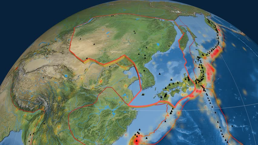 Amur tectonics featured. Satellite imagery. Plate extruded and animated against the globe. Tectonic plates borders (newest division), earthquakes by strength & volcanic cones | Shutterstock HD Video #23961448