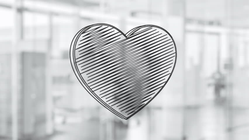 Hand drawn heart symbol rotating on the glass board. Painted by black marker (Felt Tip Pen). Seamless loop animation.  | Shutterstock HD Video #24019192