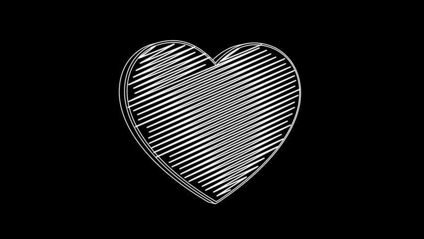 Isolated hand drawn heart symbol rotating on the black background. Seamless loop animation.  | Shutterstock HD Video #24019210