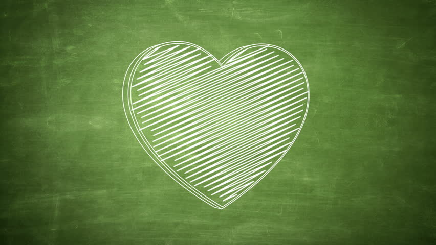 Hand drawn heart symbol rotating on the green chalkboard. Seamless loop animation.  | Shutterstock HD Video #24019219
