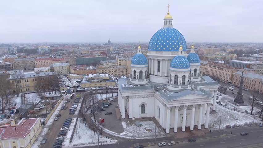Trinity Cathedral, Saint Petersburg Russia. Beautiful church this blue domes. A memorial column. Winter day, dramatic mood. Unique cinematic 4k drone aerial footage. Slow Drift. City panorama | Shutterstock HD Video #24106870
