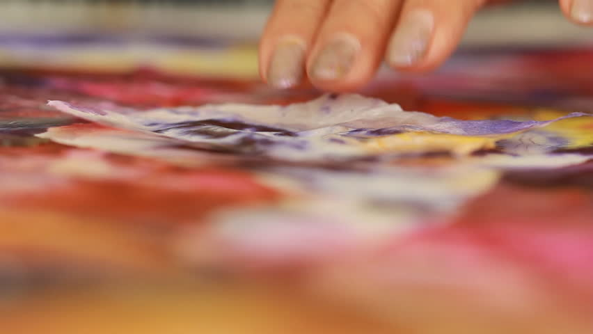 Artist in her art studio paint brushes and ink paintings | Shutterstock HD Video #24113116