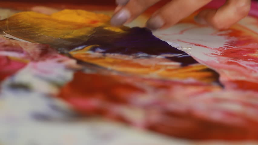 Artist in her art studio paint brushes and ink paintings | Shutterstock HD Video #24113125