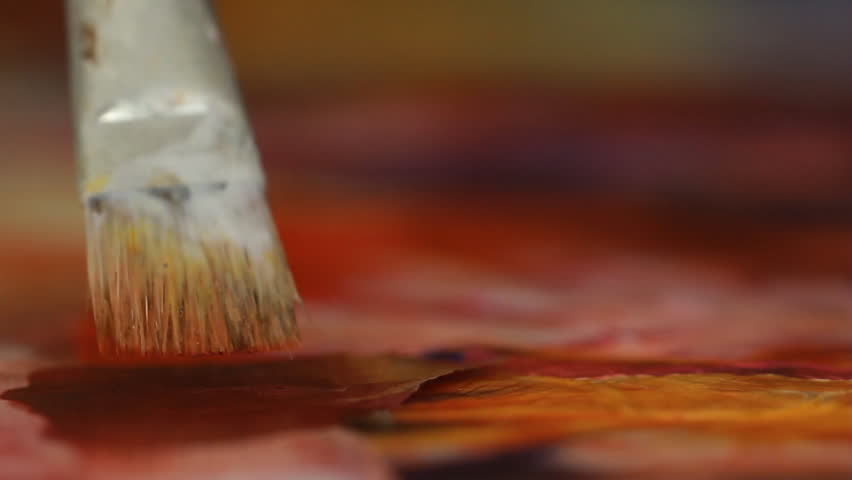 Artist in her art studio paint brushes and ink paintings | Shutterstock HD Video #24113134