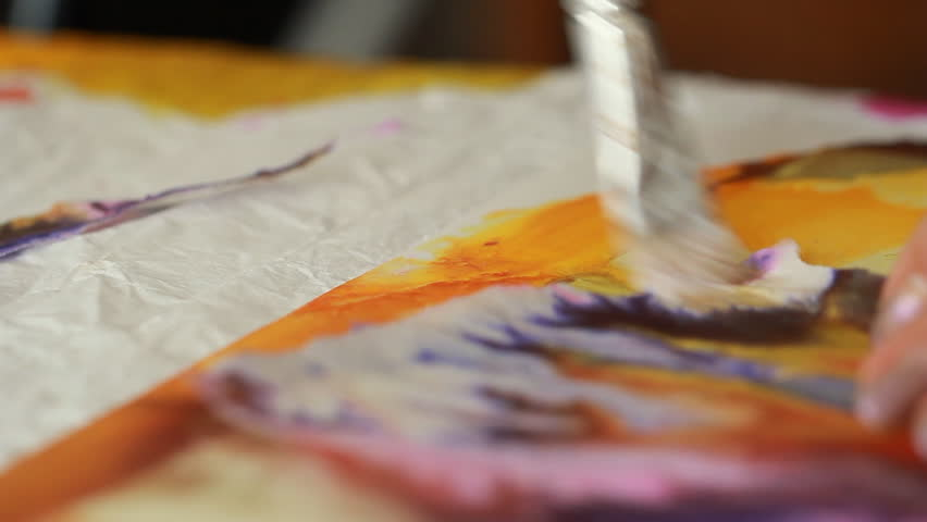 Artist in her art studio paint brushes and ink paintings | Shutterstock HD Video #24113152