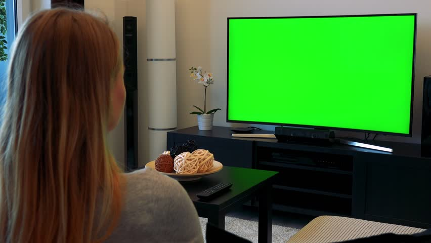 A blonde woman (the back of her head to the camera) sits on a couch in a cozy living room and watches a TV with a green screen | Shutterstock HD Video #24114160