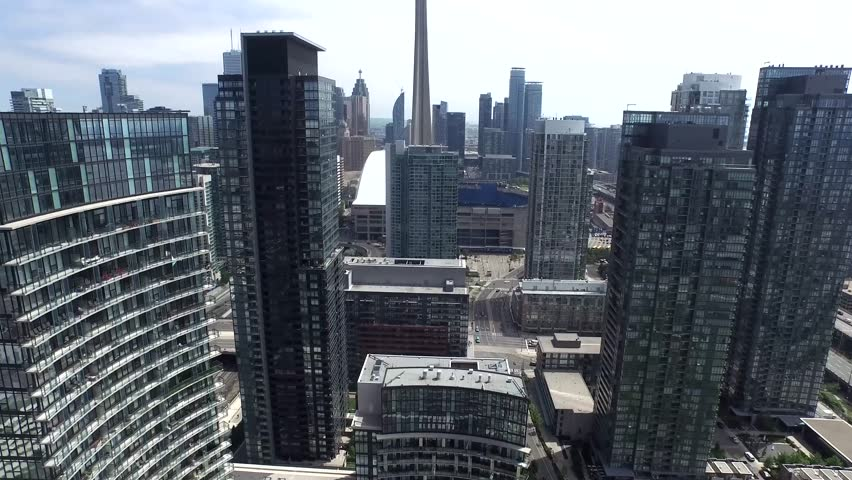 Downtown Toronto architecture cityscape with towers and scyscrapers in 4k aerial | Shutterstock HD Video #24160861