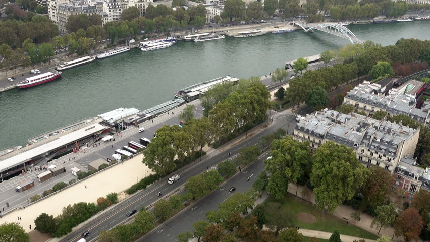 Paris aerial view of Seine river and bridges Alma and Debilly. Zoom shot. Paris, France   Shutterstock HD Video #24182524