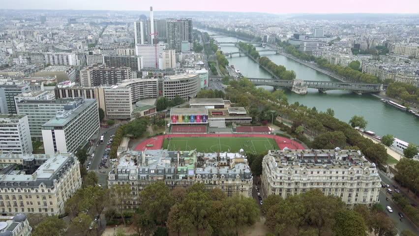Paris aerial view of Seine river and bridge tilt shot. Paris, France   Shutterstock HD Video #24182533