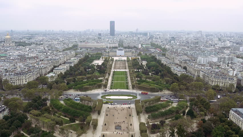 Paris aerial view of Champ de Mars or Field of Mars the large public greenspace in Paris, France   Shutterstock HD Video #24182542