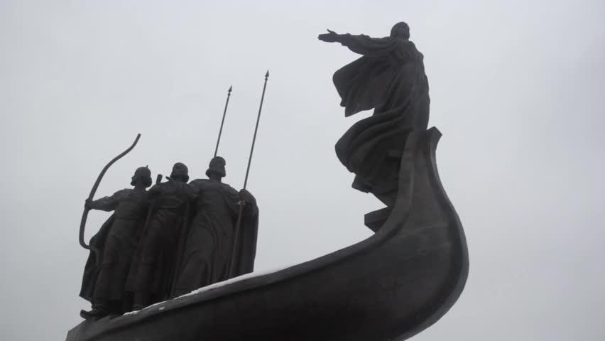 KYIV, UKRAINE - DECEMBER 2, 2014. Kiev in the winter.The monument - a symbol of Ukraine (close-up)   Shutterstock HD Video #24189967