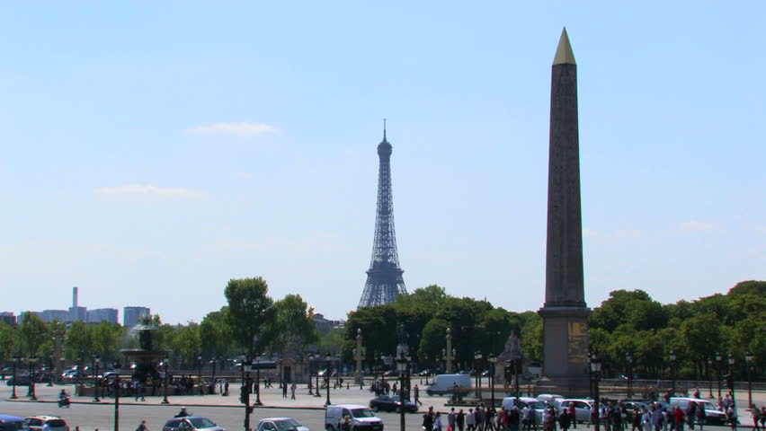 PARIS, FRANCE : Place de la Concorde in Summer. The Eiffel Tower, the obelisk and the fontaine des mers.     Shutterstock HD Video #24200785