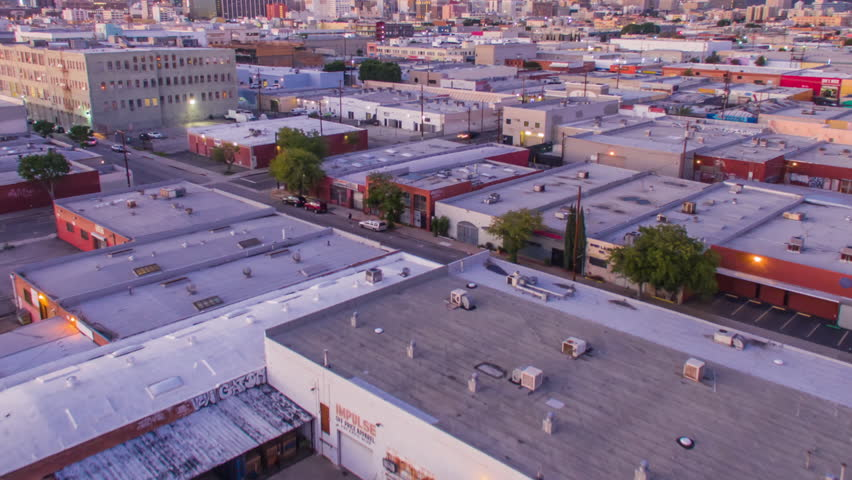 Aerolapse ( aerial timelapse / hyperlapse ) of the city view and city skyline at dusk in Downtown Los Angeles. | Shutterstock HD Video #24214996