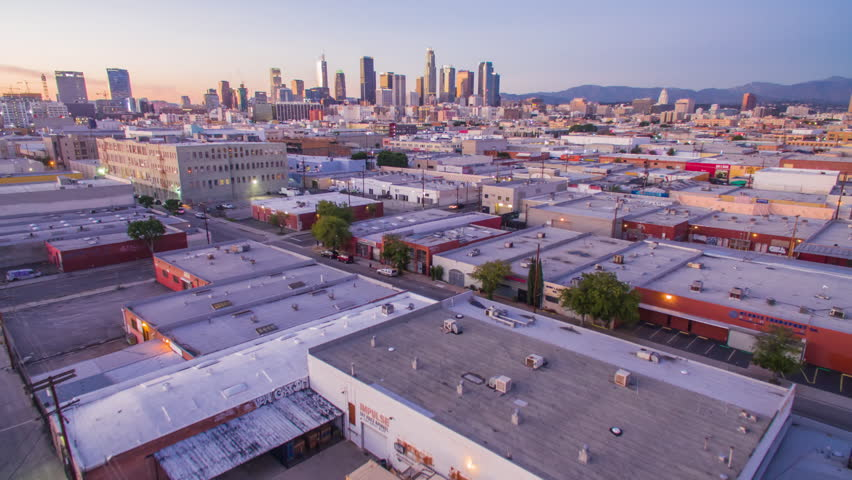 4K Aerolapse ( aerial timelapse / hyperlapse ) of the city view and city skyline at dusk in Downtown Los Angeles. | Shutterstock HD Video #24215005