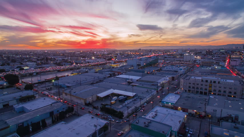 4K Aerolapse ( aerial hyperlapse / timelapse ) of the city skyline right after beautiful sunset. Downtown, Los Angeles.  | Shutterstock HD Video #24227434