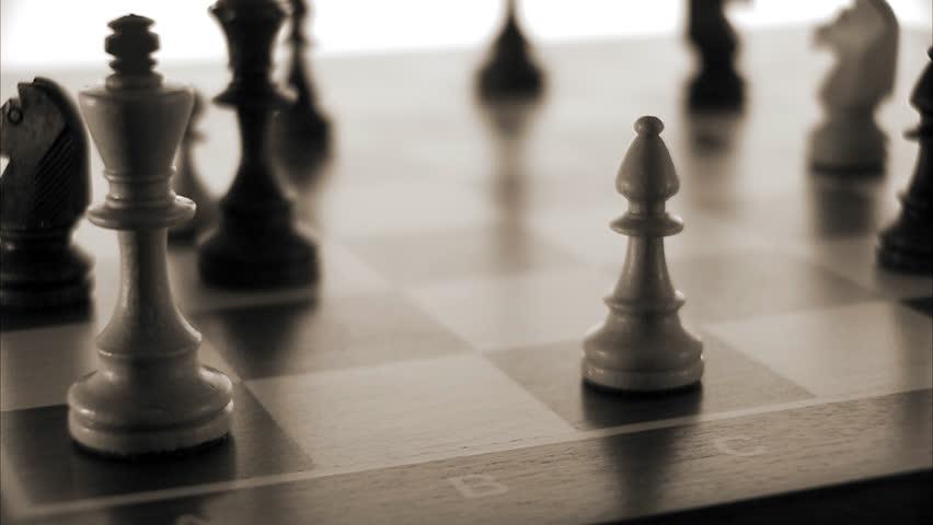 Chessmen on a chessboard.