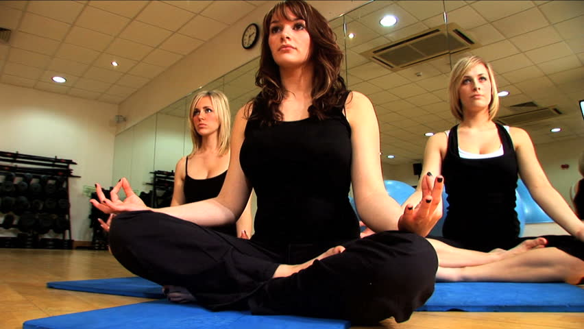Beautiful Women in Yoga Class  - HD stock footage clip