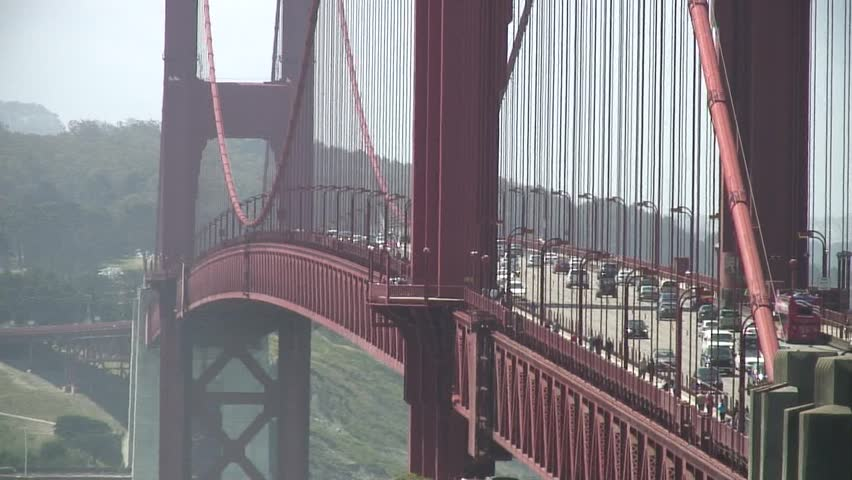 tight shot of Golden Gate Bridge - HD stock video clip
