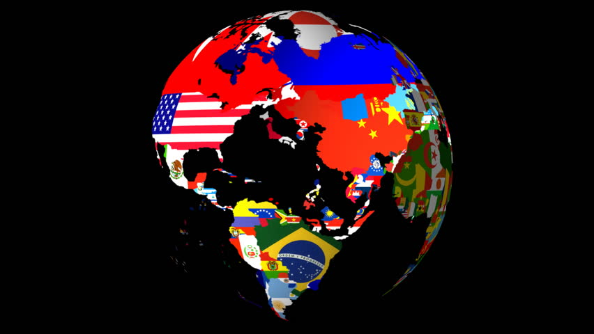High Definition Loopable Spinning Globe with Countries Flags Matt / Alpha at 10 Seconds (Loopable) - HD stock footage clip