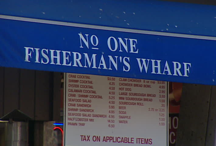 SAN FRANCISCO - Circa 2002: Seafood stands in Fisherman's Wharf in San Francisco in 2002. - SD stock footage clip