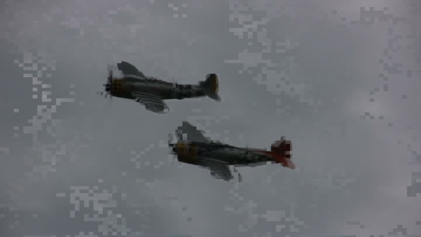 AUG 9,2008, Michigan: Two P-47 wartime fighters in airshow