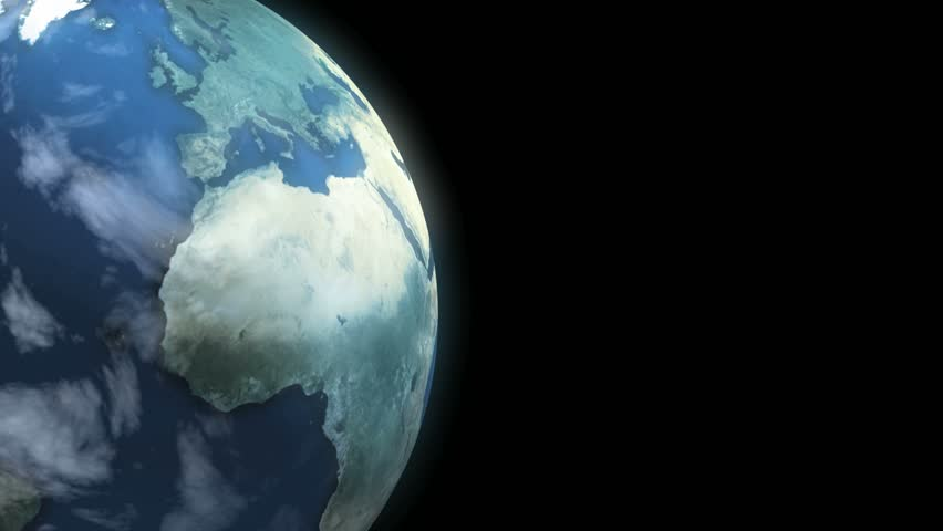 Earth Loop. This animation of planet Earth loops seamlessly. Copy space on right. - HD stock video clip