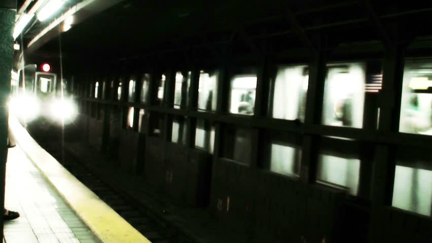 New York City subway train arrival - HD stock video clip