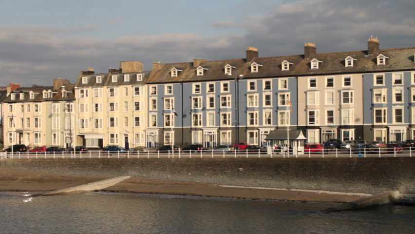 Waterfront of aberystwyth on the west coast of wales stock for 18 marine terrace