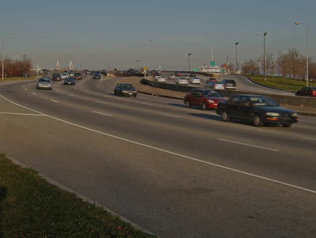 HD1080 Timalapse of auto traffic on an S-curve along Chicago's Lakeshore Drive east of the Loop. - HD stock footage clip