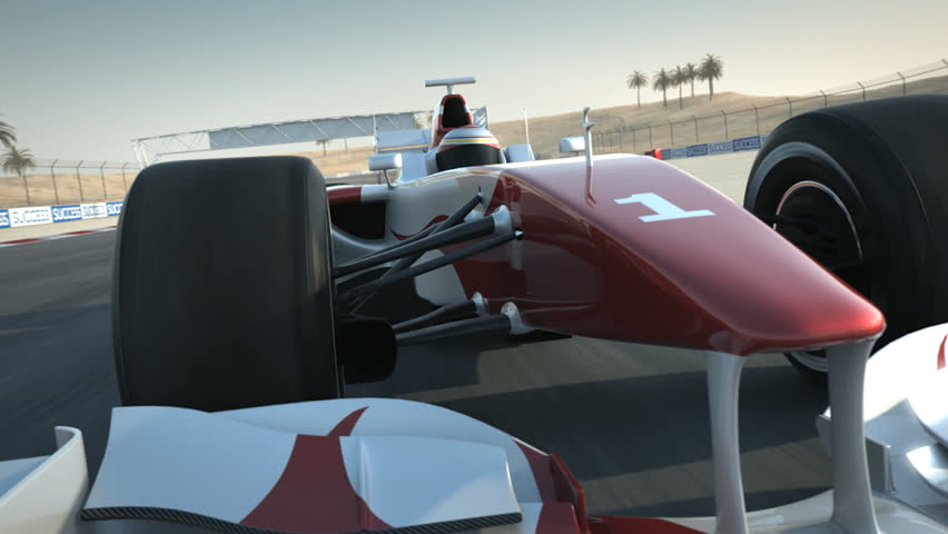 F1 race car on desert circuit - close-up front - high quality 3d animation - visit our portfolio for more