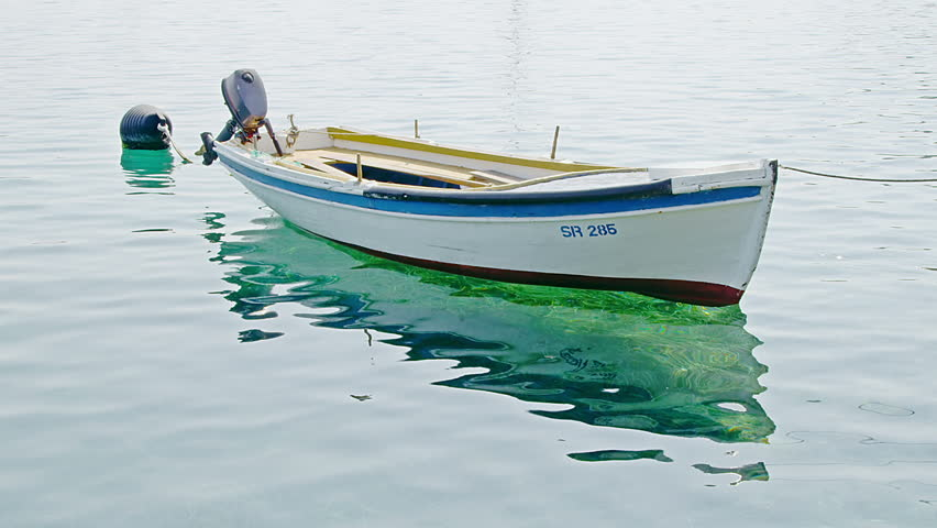 Small Fishing Boat Anchored In Marine - Croatia, Island ...