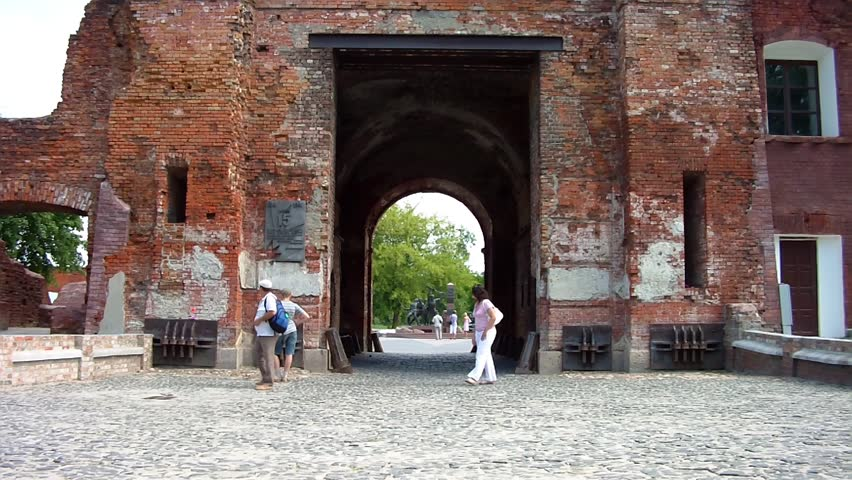 BREST, BELARUS - AUGUST 4: People walk along the Terespol gate at the Brest Fortress on August 4, 2012 in Brest, Belarus. Here began the invasion of Hitler's Germany on the USSR on June 22, 1941. - HD stock footage clip