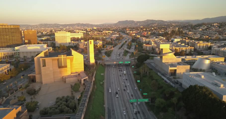 Flying over 110 freeway during traffic hours in the morning