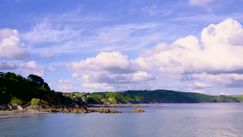Time-lapse video of the view across the bay at Looe in Cornwall on a sunny late Spring afternoon