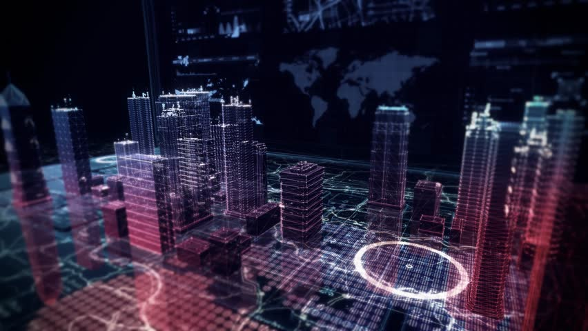 Virtual City Aerial Drone Flight Simulation on Cybernetic Space with Ultra HD Infographics and Digital Buildings | Shutterstock HD Video #27145954