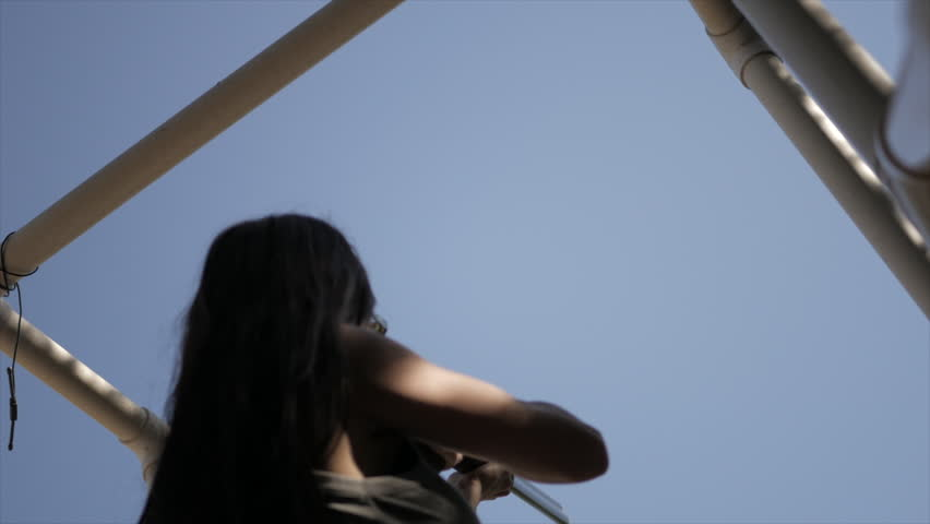 High Angle Stationary Shot of Woman Shooting Sporting Clay Pigeons | Shutterstock HD Video #27184852