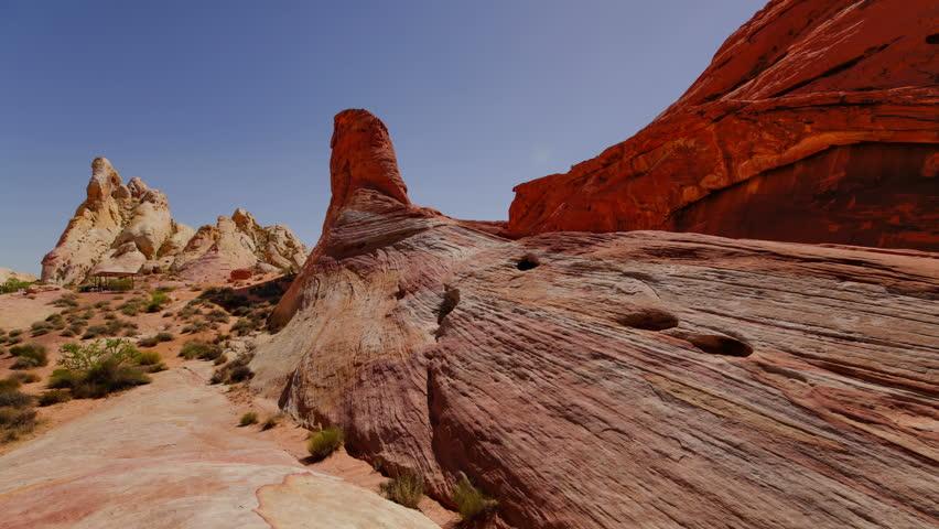 Valley of Fire Sandstone Rock Formation in Nevada Desert | Shutterstock HD Video #27190675