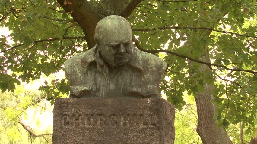 COPENHAGEN, DENMARK - CIRCA OCTOBER 2010: Statue of Churchill in Churchill Park, Copenhagen, Denmark