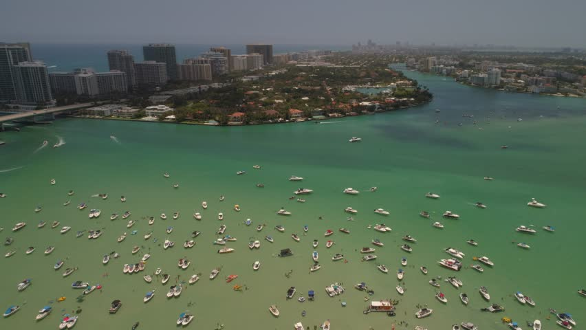 Memorial Day weekend at the sand bar Miami Beach aerial drone video #27386722